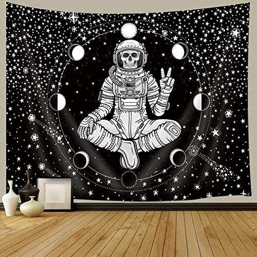 JAWO Skull Tapestry, Funny Meditation Astronaut Skeleton Sitting in Buddha Pose, Moon Stars Tapestry Wall Hanging for Bedroom Living Yoga Dorm Room Decor 90X70Inches