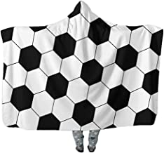ONGLYP Soccer Design Oversized Blanket Thick Sherpa Shawl Wrap Warm Cloak Cape Hooded Pashmina for Adult and Kids (Soccer, Adult Size)