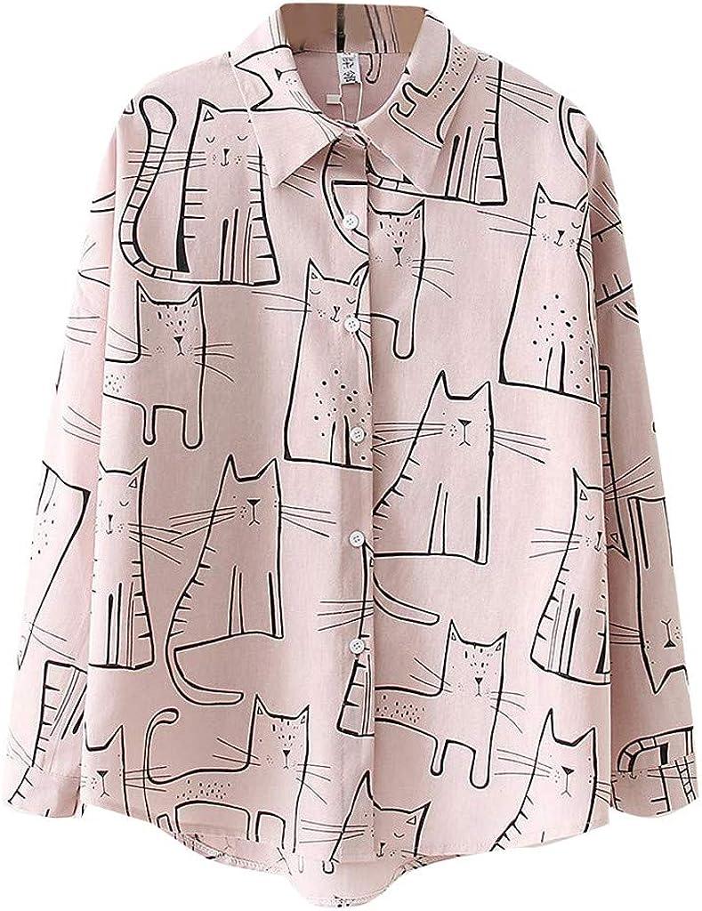 NREALY Blusa WomensFashion Long Sleeve Cat Print Korean Shirt Casual Loose Blouse