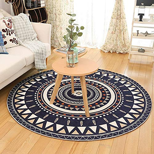 D&LE Traditional European Round Carpet Flowers Rug Simple Modern Living Room Coffee Table Bedside Computer Chair Floor Mat-blue Diameter 90cm(35inch)