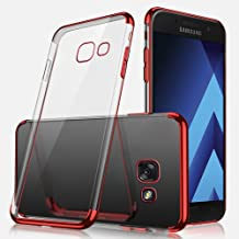 IKASEFU Crystal Clear Soft TPU Silicone Ultra-Thin Plating Design [Slim Fit] Transparent Flexible Premium Case Cover Compatible with Samsung Galaxy A7 2017 red IKASEFU00006021