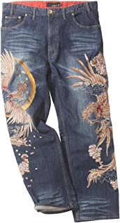 (カラクリタマシイ) 絡繰魂 大きいサイズ 双鳳凰刺繍デニムパンツ