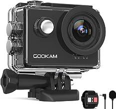 GOOKAM Action Cam 4K 60FPS 20MP WiFi Actionkamera 40M Unterwasserkamera EIS Sportkamera mit Externem Mikrofon 2.4G Fernbed...
