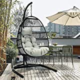 ToMe Foldable Swing Chair with Stand, Rattan Wicker Hanging Egg Chair Hammock Chair with Cushion and Pillow for Indoor Outdoor Bedroom Patio Garden…