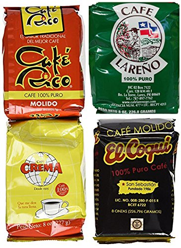 Puerto Rican Variety Pack Ground Coffee - 4 Local Favorites in 8 Ounce Bags (Lareno, Rico, Coqui and Crema)