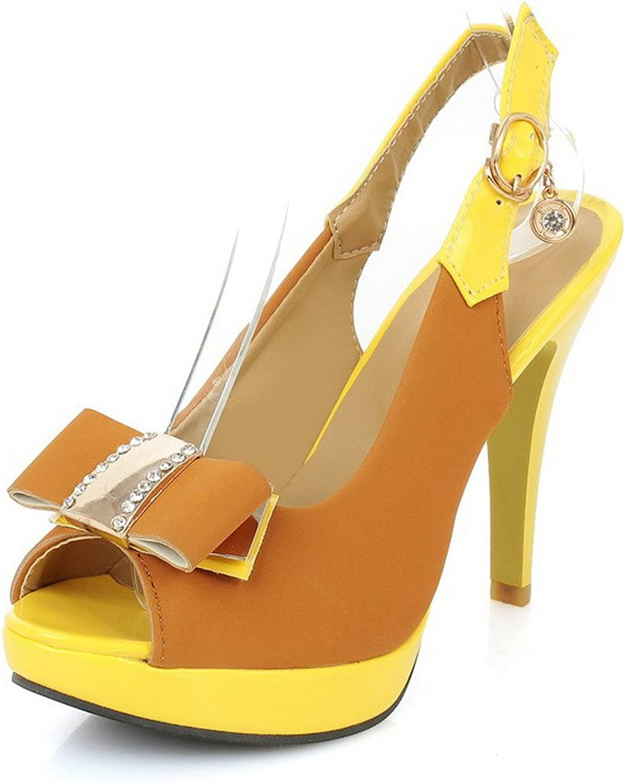 AllhqFashion Women's Buckle Peep Toe High-Heels Blend Materials Assorted color Heeled-Sandals