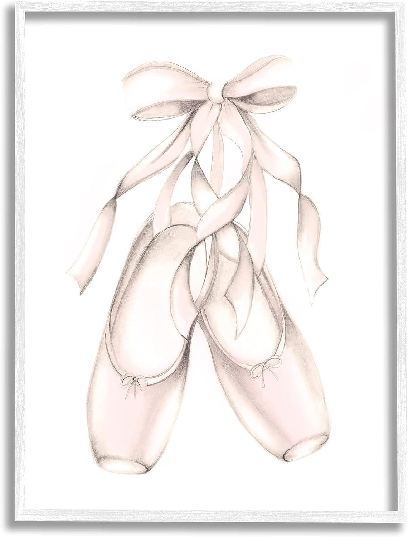 Stupell Industries Soft Pink Ballerina Slippers Ballet Dance Shoes, Designed by Studio Q White Framed Wall Art