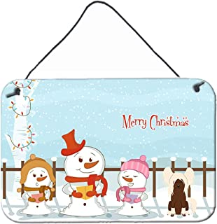 """Caroline's Treasures BB2444DS812 Merry Christmas Carolers Chinese Crested Cream Wall or Door Hanging Prints, 8"""" x 12"""", Mul..."""