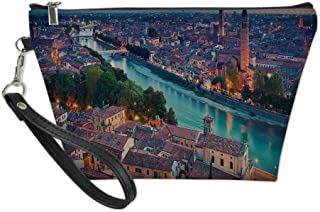 European Useful Cosmetic Bag,Verona Italy During Summer Sunset Blue Hour Adige River Medieval Historcal for Travel,for Women Makeup Bags Pouch Purse Handbag Organizer
