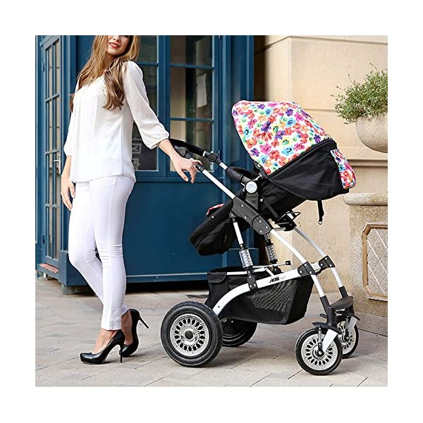 JXCC Travel Systems Baby Trolley Child Baby Stroller Can Sit Can Lie Down Two-way Fold Four Rounds High Landscape Baby Children Strollers Travel Stroller -Safe And Stylish multicolor-2 JXCC Backrest adjustment allows baby to sit, lie down, sleep and feel truly comfortable Easy to handle with lockable and swivelling front wheels The large storage basket underneath is ideal for holding purses, groceries, and diaper bags 6