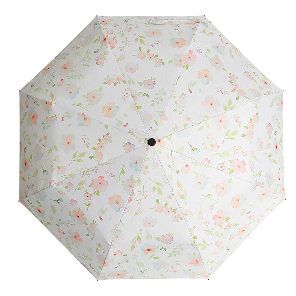 のため不定気性YIJUPIN 花のパターン女性の太陽の傘夏の日焼け止めUVプロテクションパラソルポータブル (色 : ホワイト)
