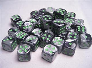 Chessex Dice d6 Sets: Gemini Black & Grey / Gray with Green - 12mm Six Sided Die (36) Block of Dice