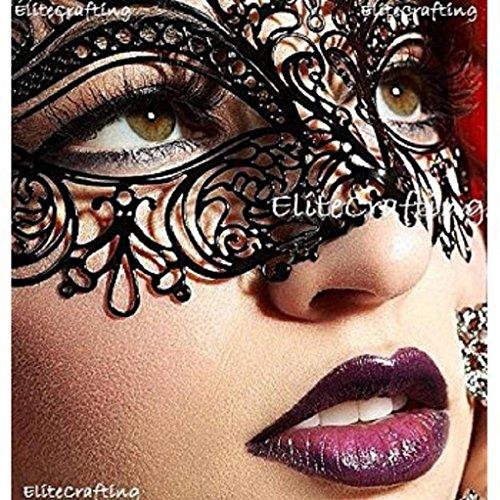 Luxurious Venetian Black Masquerade Mask - Intricate Laser Cut Design Made of...
