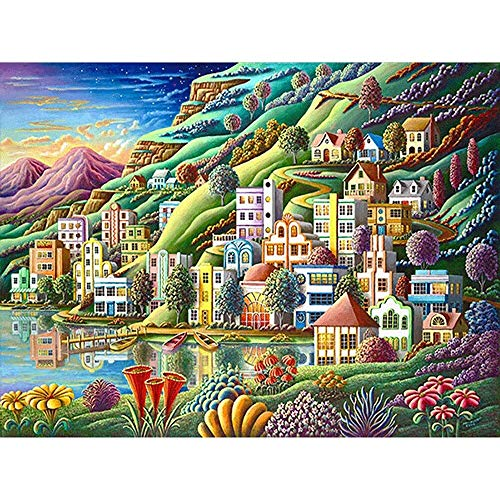 DIY 5D Diamond Painting Kits Colorful Houses and Lake Round Full Drill Diamond Art,Perfect for Relaxation and Home Wall Decor 30 * 40cm