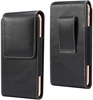 DFV mobile - New Design Vertical Leather Holster with Belt Loop for AGM A8 - Black