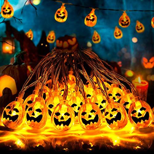 Fenvella Halloween Decorazioni, 20 LED Zucca Halloween Luminosa, 3M Luci Halloween Zucca con Modalità di Regolabili, Perfettamente Adatto per Halloween, Feste di Famiglia e Altre Attività.