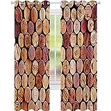 cortinas de la ventana, Selección al azar de Usado de Vinos Corchos de Calidad Vintage Gourmet Taste Licor, W52 x L108 Cortinas de la ventana para la sala de estar, mostaza malva granate