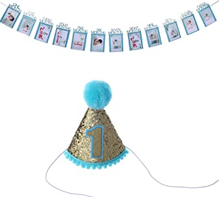 Baby Shower Birthday Hat and Growth Record 1-12 Month Photo Props Bunting Banner First Birthday Party Decorations (Blue)