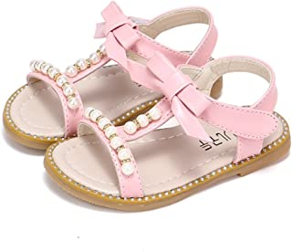 19dd776303f6 CYBLING Girls T-Strap Sandals Summer Outdoor Flat Princess Pearl Dress Shoes  (Toddler