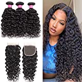 Water Wave Bundles with Closure (24 26 28+20) 10A Brazilian Wave Wet & Wavy Human Hair Bundles with 4x4 Closure 100% Unprocessed Water Wave Human Hair 3 Bundles with Lace closure Hair Extensions