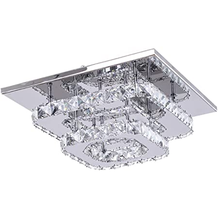 Plafoniera Cristallo a LED, 36W Lampadario Cristallo Moderna, Integrati Lampada da Soffitto per soggiorno Camera da letto 6000K 30CM (Luce Bianca Fredda)