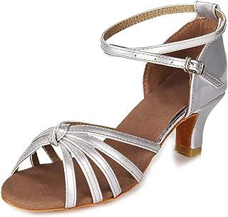 Mujeres&Niña Zapatos Latinos de Baile Zapatillas de Baile de salón Salsa Performance Calzado de Danza,Modelo ES217