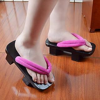 Zuecos japoneses para hombre Geta zapatos mujer 2 dientes zapatillas de madera Cosplay sandalias chanclas color1_38 (color...