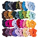36 Stück Haargummis Samt Mädchen Set, Scrunchies Bunte Samt Farben Weich Elastische Gummibänder Haarbänder für Damen, Mit 1 Stück einer Aufbewahrungstasche