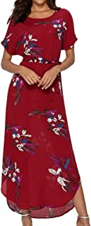Sunhusign Women's Sexy Bohemian Small Floral Print Short Sleeve Round Neck Lace-Up Long Maxi Dress