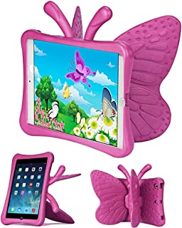 Tading Kids Case for Apple iPad Mini 5/4/3/2/1 7.9 inch Only, Lightweight Shockproof EVA Foam Stand Cover for iPad Mini, Mini 5 (2019), Mini 4, iPad Mini 3rd Generation, Mini 2 Tablet - Butterfly Rose