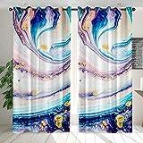 Cortinas Opacas Patrón de río Blanco púrpura Azul Verde Cortinas Estampadas Resistente al Calor y La Luz para Salón Dormitorio Cortina Suave para Oficina Moderna Decorativa(85x200 cm x2)