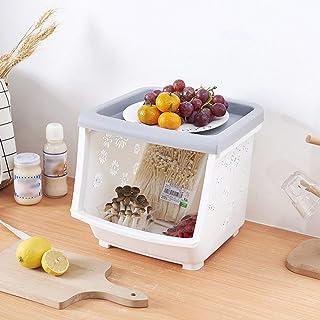 CAI Boîte de Rangement Domestique Boîte de Rangement Multicouche empilable en Plastique en Bois Massif/Cuisine avec Couver...