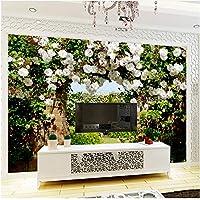 Xbwy 装飾壁画の壁紙パストラルスタイルローズロビー風景フレスコリビングルームベッドルームカフェロマンチックな背景-200X140Cm