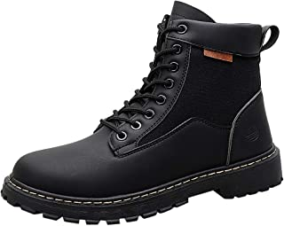 Funnygals - Mens Boots Winter Warm Ankle Boots Lace Up Anti-Slip Boots Waterproof Work Hiking Boots Chukka Combat Boots