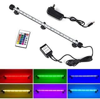 S SMIFUL LED Aquarium Light, Fish Tank Light RGB Color Changing Underwater Light Submersible Crystal Glass Lights