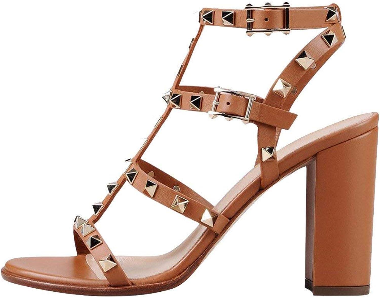 VOCOSI Women's Ankle Strap High Heel Block Heels Rivets Studded Strappy Slingback Gladiator Dress Summer Comfortable Sandals