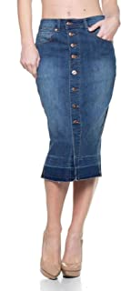 Women's Plus/Junior Size Pencil Calf Length Button Closures Stretch Denim Skirt