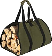 HRX Package Waxed Canvas Firewood Bag Carrier, Water Resistant Log Tote Wood Carrying Bag with Handles for Camping Trip