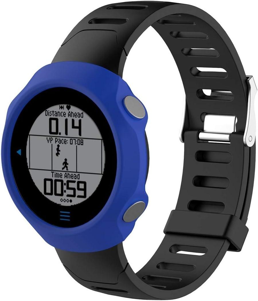 WATCHCASE/Funda Protectora de Silicona de Reloj Inteligente para Garmin Forerunner 610, La decoración de la Moda Protege el Marco del re (Color : Azul)