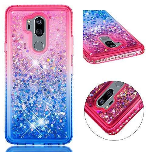 Coque pour LG G7 ThinQ/ LG G7 Liquide Brillant, XINYIYI Coloré 3D Rigide En Plastique Conceptions Rigides Cristal De Luxe Étanche Sands Water Flow Couvercle Liquide Glitter Bling Bling Quicksand Housses de Dégradé de Couleur Housse Étui Anti-Choc protection pour LG G7 ThinQ/ LG G7 - Rose + Bleu