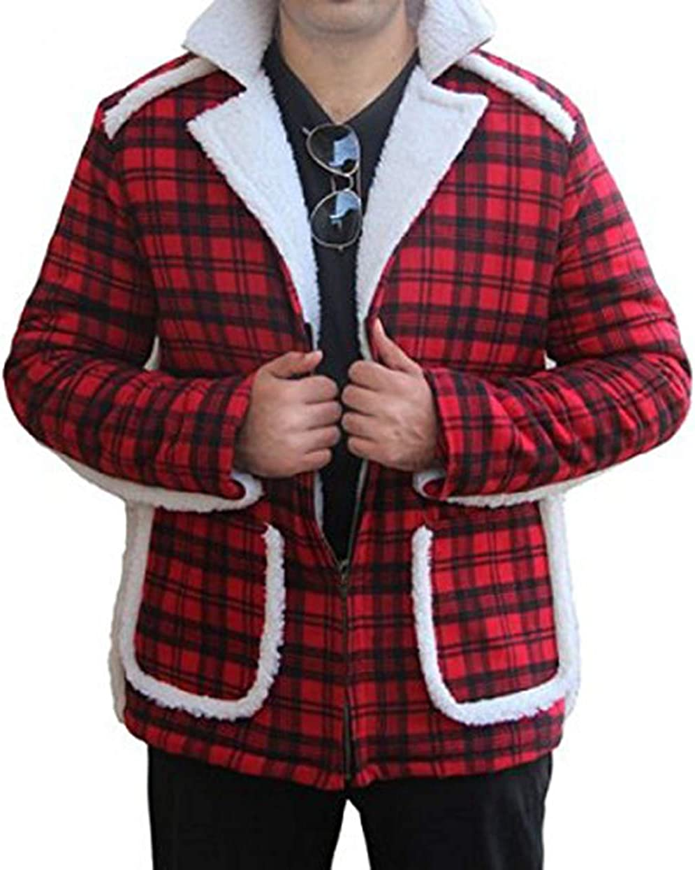 Ryan Reynolds Red Credence Cotton Flannel Trench Shearling Faux Jack Easy-to-use Coat