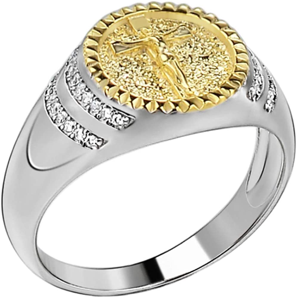 Men's Christian Ring - Solid 925 Sterling Yellow 14k 2021 new Go Inexpensive Silver