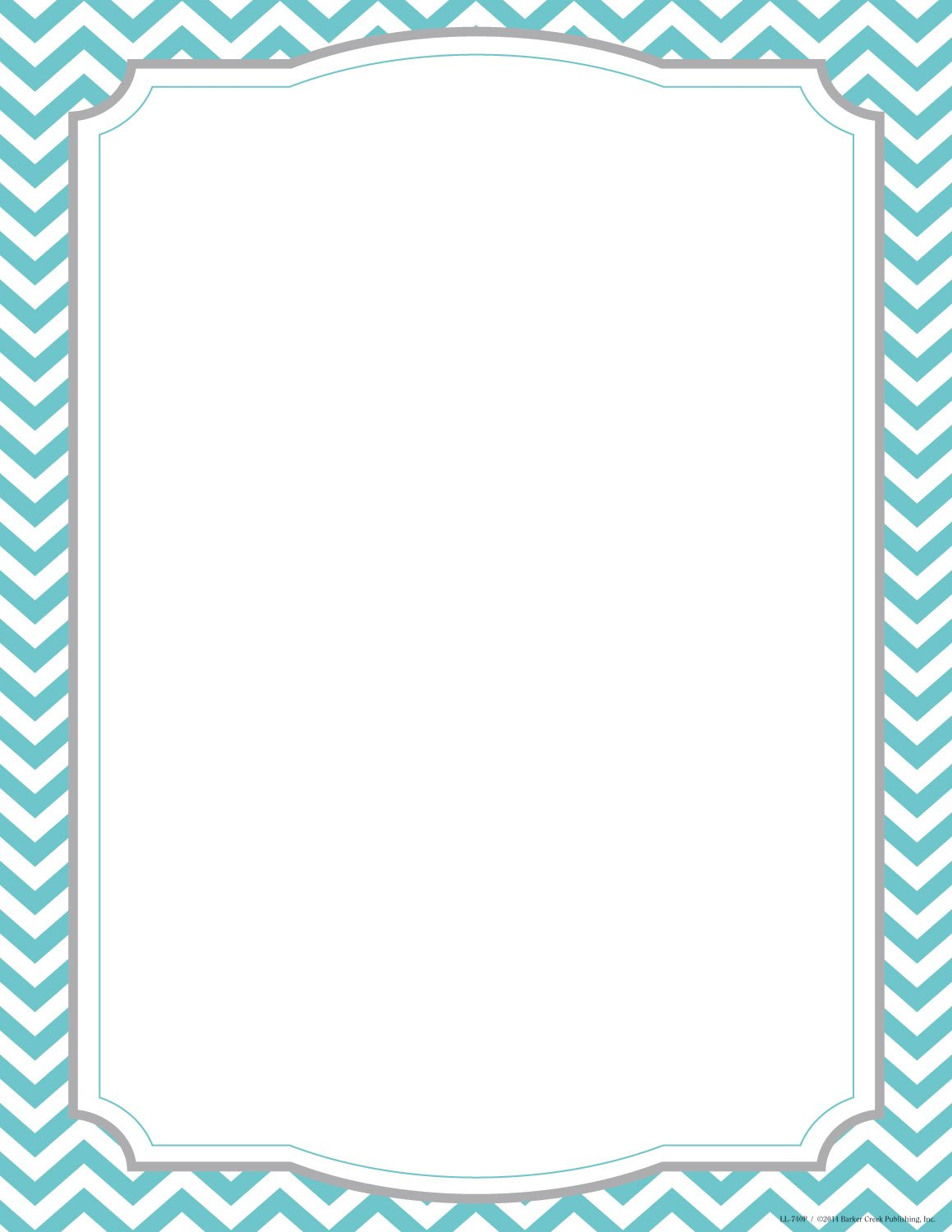 "Barker Creek Turquoise Chevron Computer Paper, 8-1/2"" x 11"", Pack of 50"