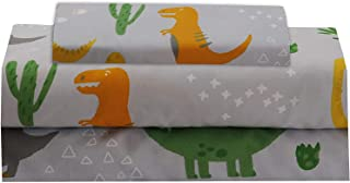 Kids Zone Home Linen Sheet Set Kids Dinosaur Green Orange Yellow Grey Cactus Plants New # Dinosaur (Full)