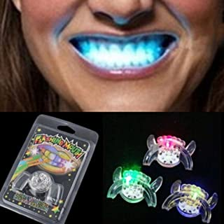 Baring 5 PCS Second Generation Flashing Mouth LED Mouthpieces Halloween Rave Party Teeth Braces Glow in The Dark Mouth Guard