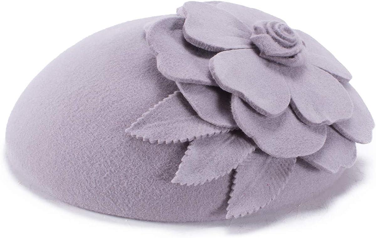 Lawliet Flower Womens Dress Fascinator Wool Pillbox Hat Party Wedding A083