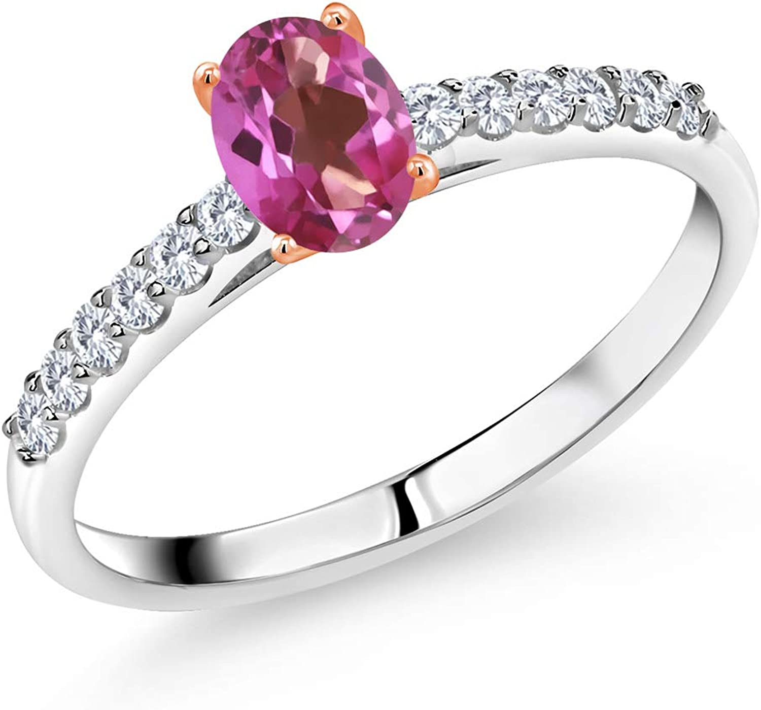 Gem Stone King 925 Silver Ring Oklahoma City Mall w M service 0.68 Rose Gold Ct Prongs 10K