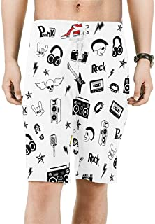 Men's Printed Board Shorts Loose Fit Quick Dry No Mesh Lining