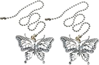 Saim Ceiling Fan Pull Chain Ornaments Set Extension 12 Inch Light Pull Chains Silver Tone with Butterfly Pendant, Pack of 2