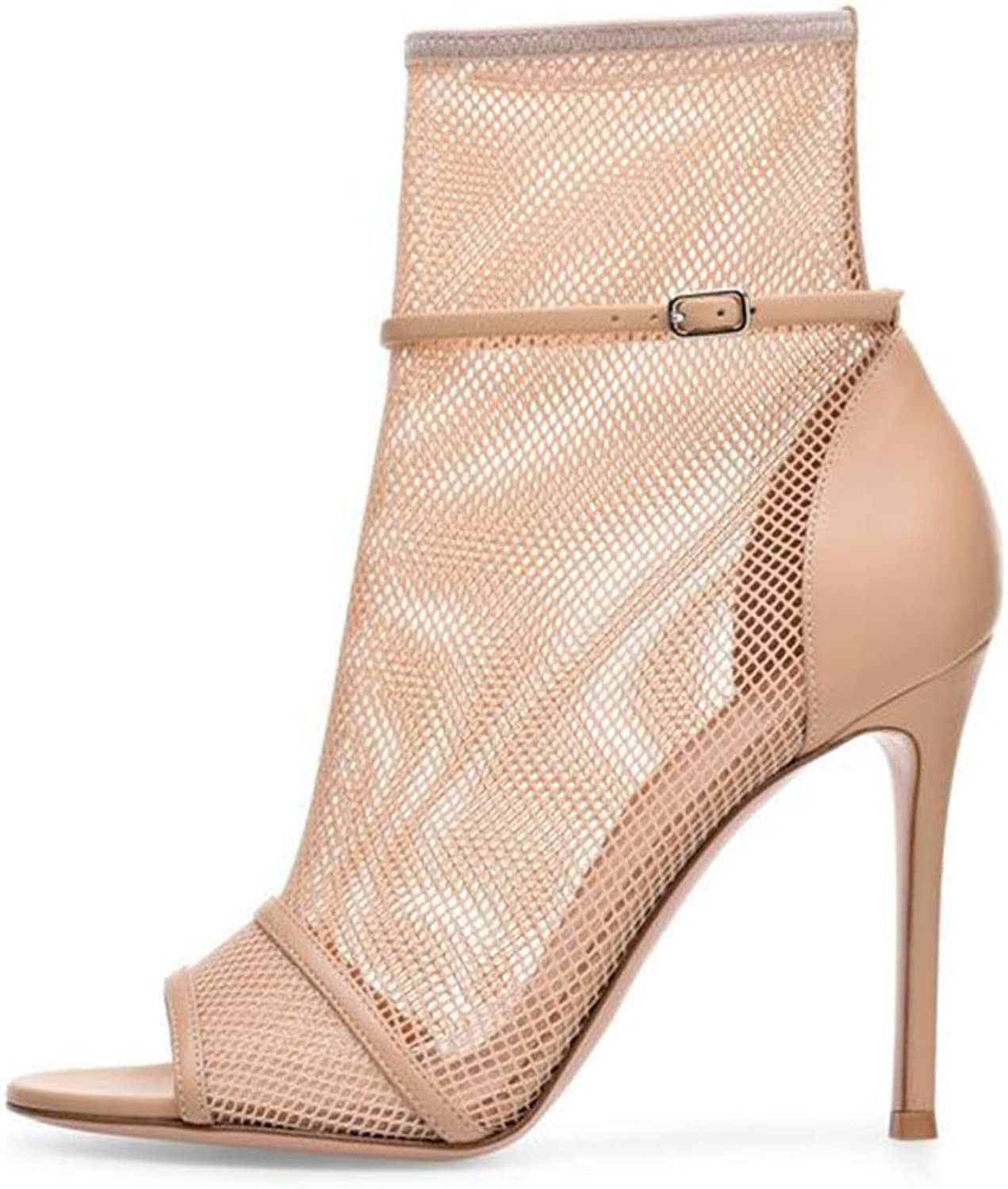 Exing Women's shoes Sexy Mesh Ankle Boots Fashion Boots Bootie Sandals Stiletto Heel Booties Ankle Boots